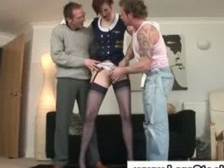 British European  Old and Young Stockings Threesome