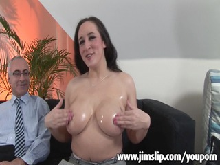 Big Tits Daddy  Natural Oiled