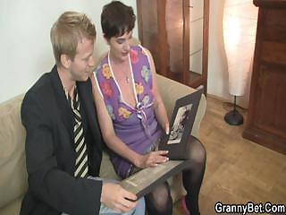 extremely impressive threesome with dirty elderly whore