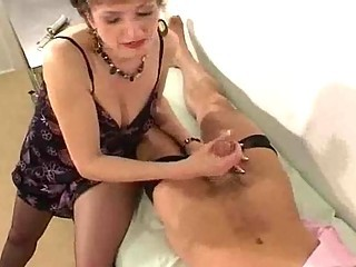 lady median stockings gives the brush practise medicine a handjob