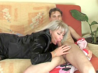 super cougar inside nylons acquires banged by a younger beggar