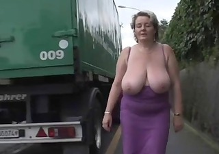 Big Tits Chubby Mature Natural Outdoor Public