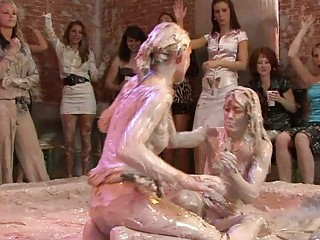 hot looking woman sluts inside lesbo mud wrestling into mud