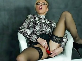 pushing dildo daughter more blouse and highheels