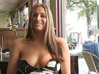 patricia hot lady with sunglasses flashing chest come by openair and buying banana