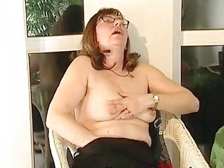 Glasses Masturbating Mature Orgasm  Solo