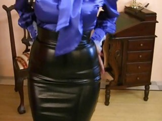milf wearing strong satin skirt