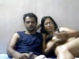 indian older  duo mr and mrs gupta inside webcam