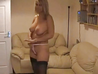 Amateur Homemade  Mom Natural Stockings Stripper