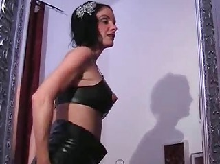 gung-ho latex mature babe playing