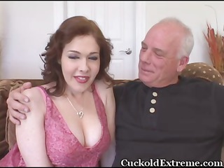 milky colorless busty woman takes plump with a bbc while her cuckold hubby watches
