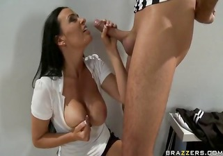 busty brunette gives the official a hot blowjob and hard fuck