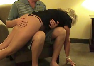 hawt blonde middle-aged wench gets her arse spanked and screwed