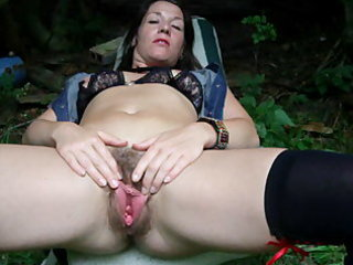 Amateur Hairy  Mom Outdoor Pussy