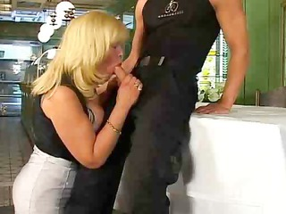 Blonde Blowjob Clothed European German  Mom Old and Young