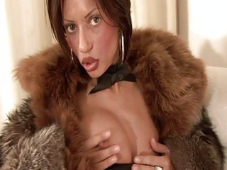 breasty brunette hair d like to fuck in furry coat sticks sex toy up her hottie pot