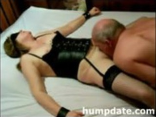tied wife receives licked and filled with toy
