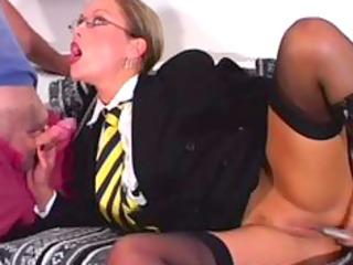 Amazing Cute Glasses  Pornstar Shaved Stockings Teacher Toy Uniform
