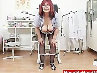 redhead giant boobies cougar widens her haired piddle gap