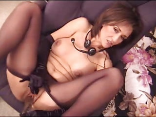 Amazing Brunette Cute Masturbating  Mom Pantyhose Small Tits Toy
