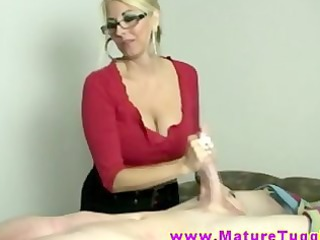 Amazing Big Tits Glasses Handjob  Mom Old and Young