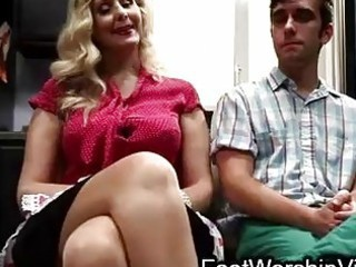 guy copulates and licks feet on milf