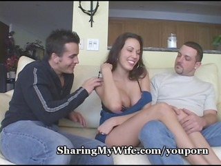 Big Tits Brunette Cuckold Cute  Threesome Wife
