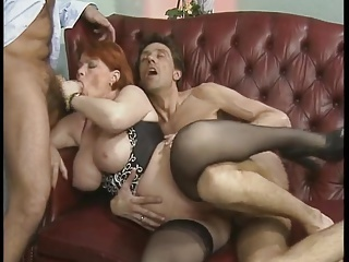 Big Tits Blowjob Hardcore  Natural Redhead Stockings Threesome