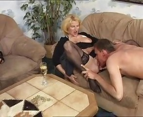 Drunk European German Licking Mature Stockings