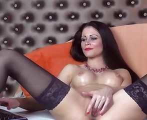 Amazing Brunette Cute Masturbating  Solo Stockings Webcam