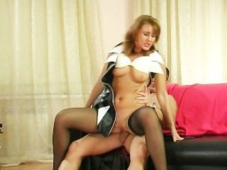 Mom Old and Young Riding Russian Stockings