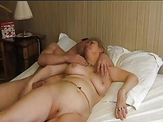 FRENCH Grown-up n5 blonde bbw anal mom milf and 2 bi men
