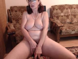 Big Tits Glasses Masturbating Mature Natural  Solo Webcam