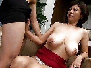 Asian Big Tits Handjob Japanese Mature Mom Natural Nipples Old and Young