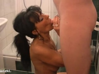 Blowjob Brunette European Mature Showers