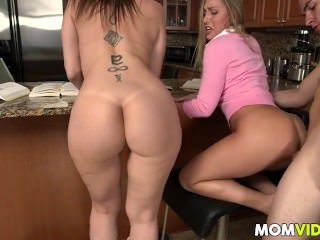 Amazing Ass Family Kitchen  Mom Old and Young Pornstar Tattoo Threesome