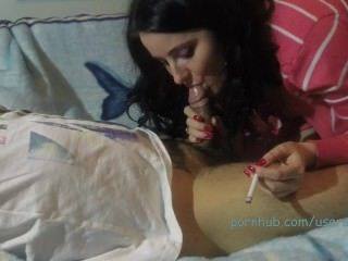 mom;mother;amateur;homemade;brunette;smoking-blowjob;blowjob;cock-suck;smoking;milf