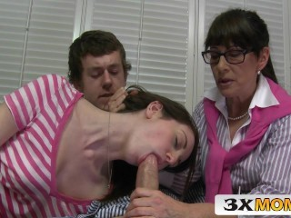 Blowjob Glasses Mature Mom Old and Young Teacher Teen Threesome