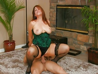 Amazing Big Tits Lingerie  Natural Pornstar Redhead Riding Stockings