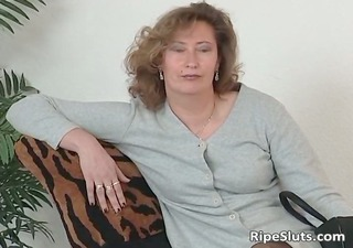 older doxy in stockings use big dildo part9