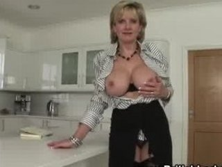 Amazing Big Tits British European Kitchen  Pornstar