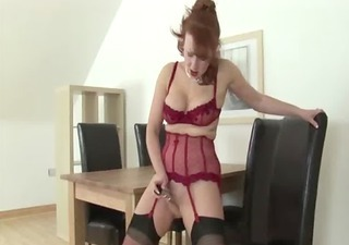 Dildo Lingerie Masturbating  Redhead Solo Stockings Toy