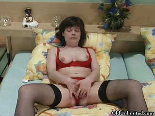 Lingerie Masturbating Mature Solo Stockings Wife