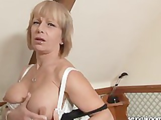 older  european pale stuffs cave with heavy sex toy