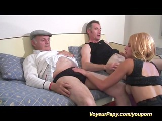 french triple with voyeur papy