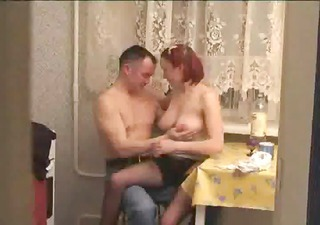 Amateur Big Tits Daughter Homemade Kitchen Natural Redhead Russian
