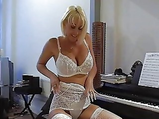 Amazing Blonde Cute Lingerie  Stockings Stripper Teacher