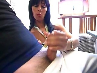 European Handjob  Mom Old and Young Small cock