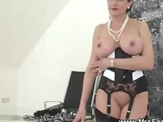 Amazing British Corset European Lingerie  Pornstar Shaved Stockings