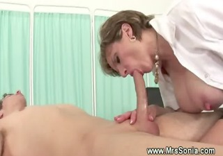 Big Tits Blowjob Doctor  Mom Nipples Old and Young Pornstar